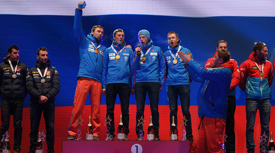 Russian biathletes sing anthem a cappella after blooper at world cup (VIDEO)