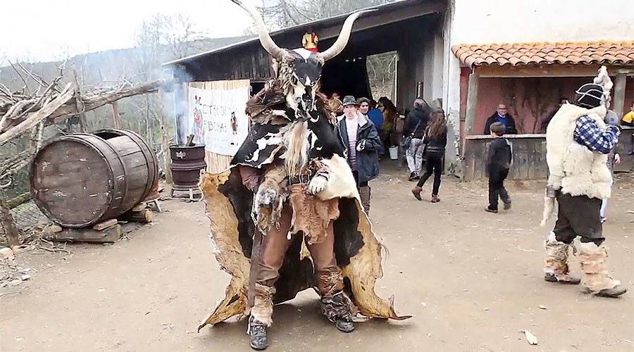 Animal carcasses the costume of choice in Ancient Spanish festival (VIDEO)