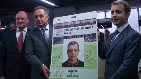 Russia's deputy prime minister Vitaly Mutko (C) at the opening ceremony of the first center for registration and issuance of FIFA fan passports ahead of the 2018 FIFA World Cup and the 2017 FIFA Confederations Cup © Igor Russak / Global Look Press