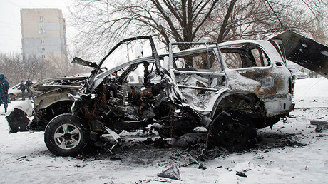 A car belonged to the Luhansk People's Militia Command Chief Colonel Oleg Anaschenko. © Olesya Potapova