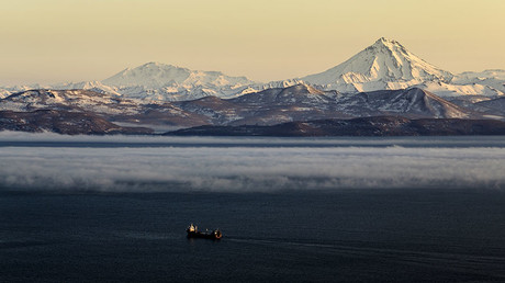 An evening fog and fire smoke over Petropavlovsk Kamchatsky. ©  Alexandr Piragis