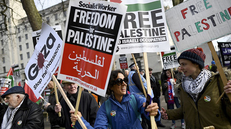 Demonstrators protest against Israel's Prime Minister Benjamin Netanyahu's visit, London, Britain, Fberuary 6, 2017. © Dylan Martinez