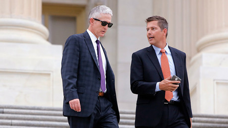 Representative Sean Duffy speaking to Representative Trey Gowdy outside the US Capitol. © Jonathan Ernst