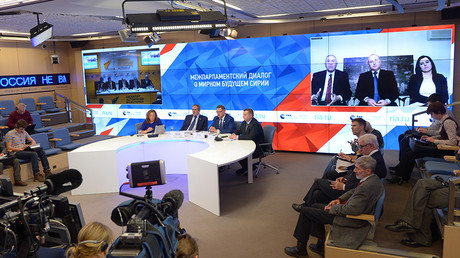 Televised conference between Moscow, Damascus and Astana organized by Rossiya Segodnya Information Agency © Vladimir Trefilov