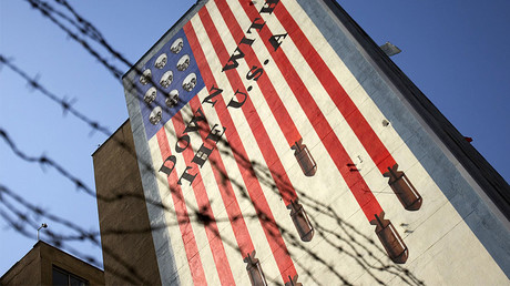 FILE PHOTO: An anti-U.S. mural on a wall, Tehran. © Morteza Nikoubazl