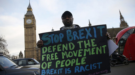 An anti-Brexit protester holds a sign outside the Houses of Parliament, London © Neil Hall
