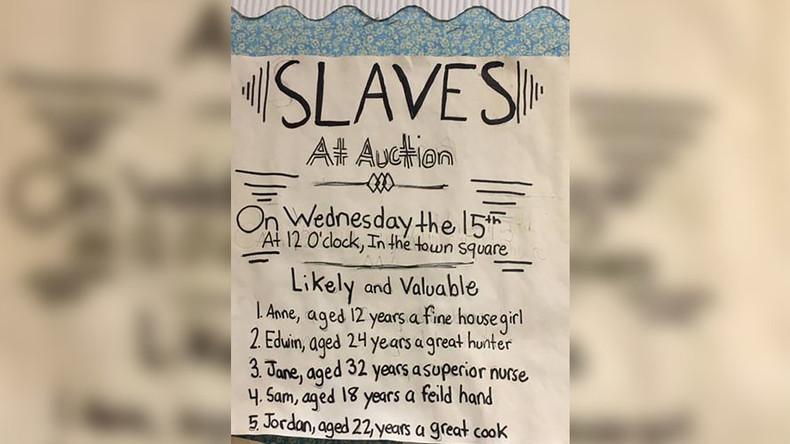 'This is disgusting': NJ parents revile 'slave auction' school poster project (PHOTOS)