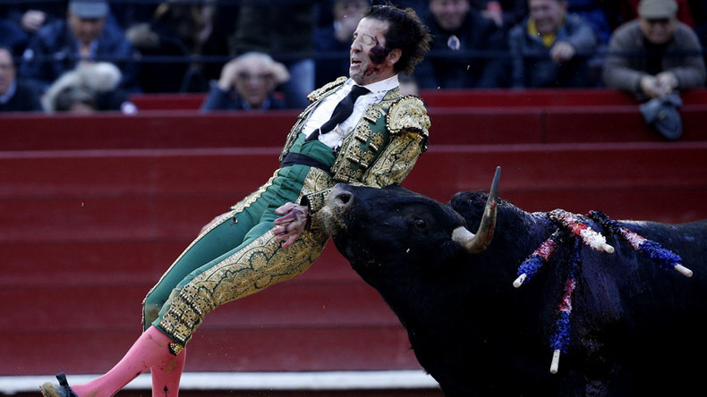 One-eyed matador gored in grizzly bullfight, gets up to make the kill (GRAPHIC VIDEO)