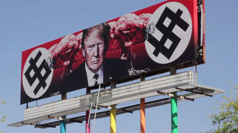 Trump billboard with Nazi-like dollar signs, nuclear mushroom clouds erected in US (VIDEO)