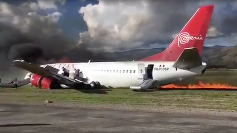 Boeing 737 with 140+ on board veers off runway, bursts into flames after landing in Peru (VIDEO)