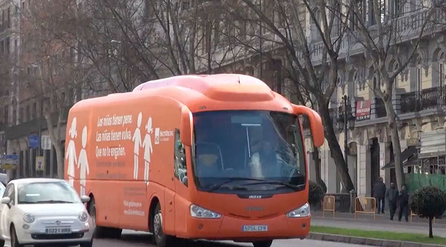 Madrid court bans Catholic group's anti-transgender bus from the road (PHOTOS)