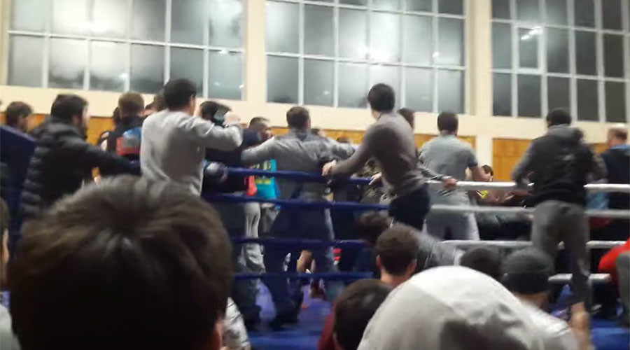 Battle royal: Late kick by MMA fighter sparks mass brawl in Russia's Dagestan (VIDEO)