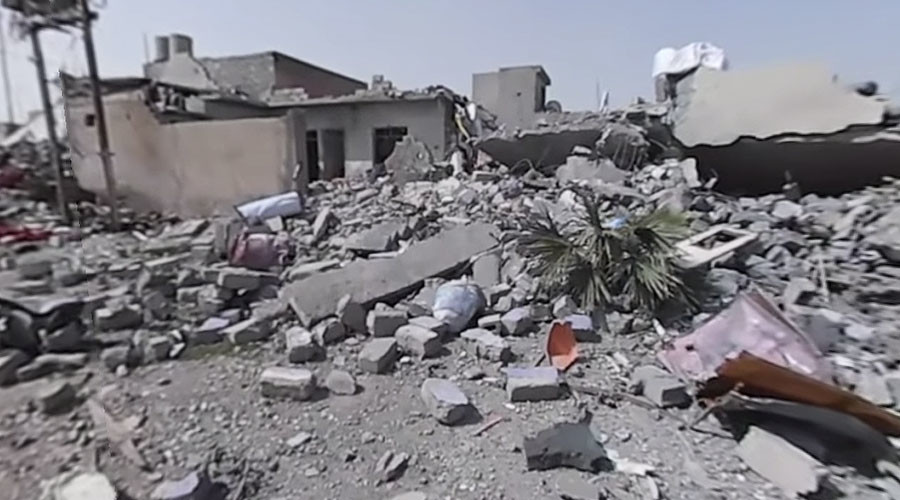 360° destruction: Western Mosul in ruins after airstrikes (VIDEO)
