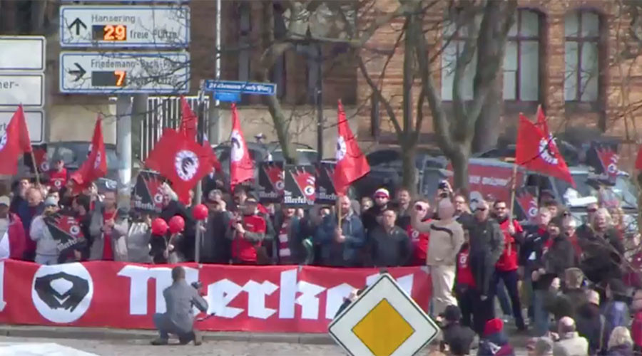 'Heil Merkel!' German city protests visit by chancellor