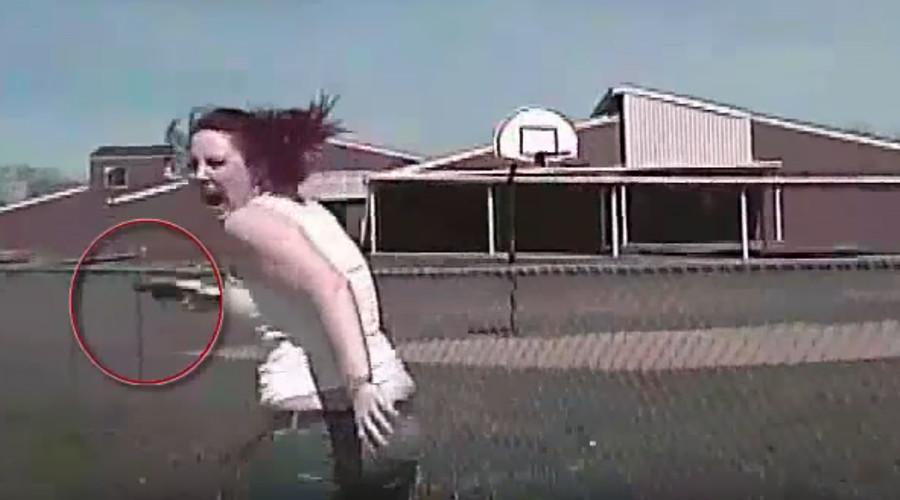 Patrol car runs over gun-toting woman in Tulsa (GRAPHIC VIDEO)