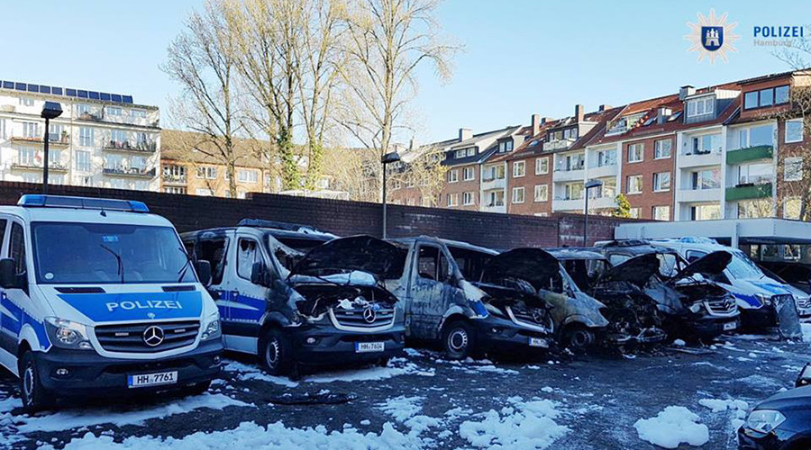 Police vans torched in German city of Hamburg, second incident in 10 days