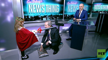 Farage knighted in RT studios after being snubbed by actual Queen (VIDEO)