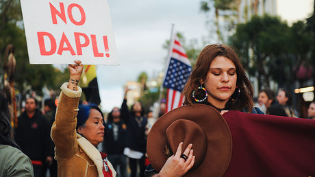 Protest against the Dakota Access oil pipeline, Hollywood, California, U.S. February 26, 2017. © Andrew Cullen