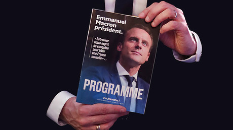 Emmanuel Macron displays his program, Paris, France, March 2, 2017. © Christian Hartmann