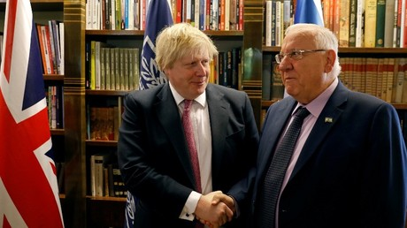 Britain's Foreign Secretary Boris Johnson (R) with Israel's President Reuven Rivlin, in Jerusalem March 8, 2017. © Ronen Zvulun