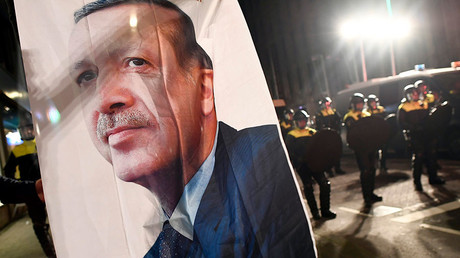 Turkish President Recep Tayyip Erdogan's image during protests in Rotterdam, Netherlands March 11, 2017. © YDylan Martinez