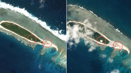 Part of the Paracel Islands group in the South China Sea, on February 15, 2017 (L) and on March 6, 2017 © Planet Labs