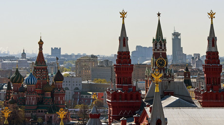 A view from the Hotel Moskva on the Kremlin.