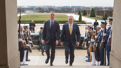 Defense Secretary Jim Mattis walk with NATO Secretary General Jens Stoltenberg. Washington, D.C. March 21, 2017. © DoD / Army Sgt. Amber I. Smith