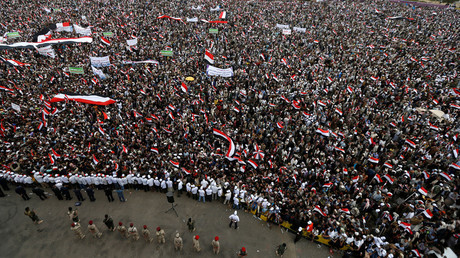Supporters of the Houthi movement and Yemen's former president Ali Abdullah Saleh, Sanaa, Yemen March 26, 2017. © Khaled Abdullah