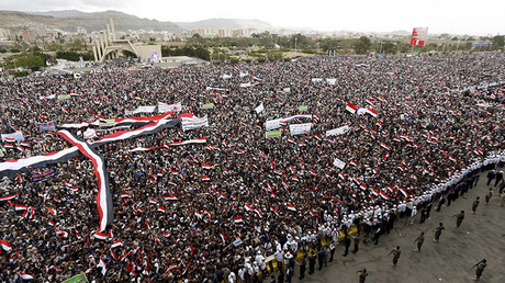 Supporters of the Houthi movement and Yemen's former president Ali Abdullah Saleh attend a joint rally to mark two years of the military intervention by the Saudi-led coalition, in Sanaa, Yemen March 26, 2017. REUTERS/Khaled Abdullah