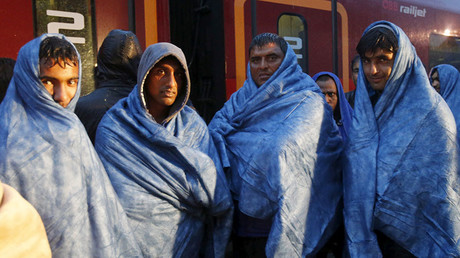 FILE PHOTO. Migrants at the Austrian train station of Nickelsdorf. © Heinz-Peter Bader