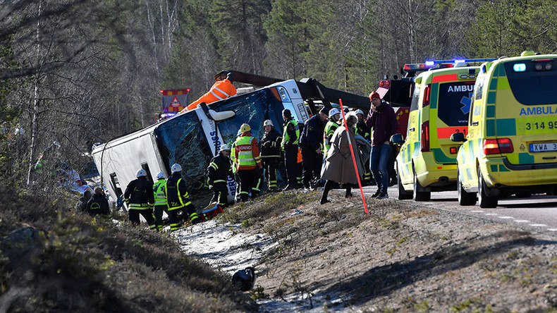 Three dead in Sweden bus crash with dozens of school children on board (VIDEO)