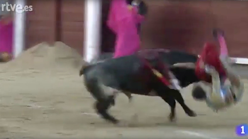 Bullfighter viciously gored in throat by 450kg bull (GRAPHIC VIDEO)