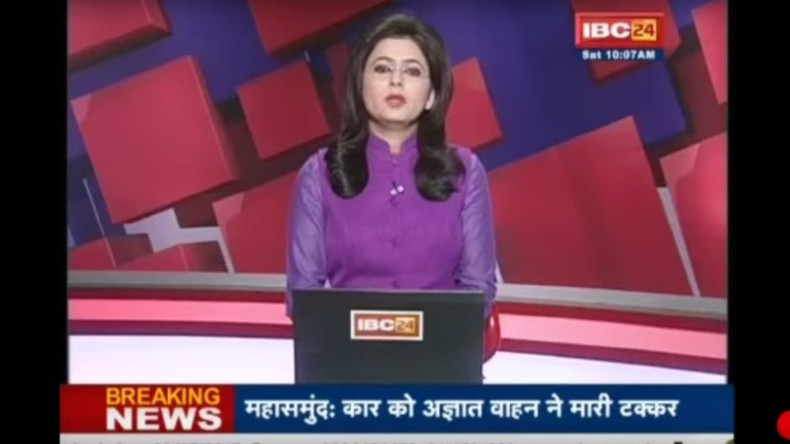 Indian news anchor reads out news of husband's death in car accident – live on air