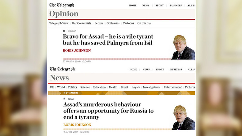 Boris Johnson 2016 vs. 2017: Flip-flop from 'Bravo for Assad' to 'Topple Assad'