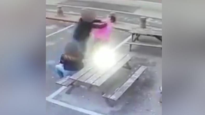 Drunken customer throttles, punches grandmother outside her own pub (VIDEO)