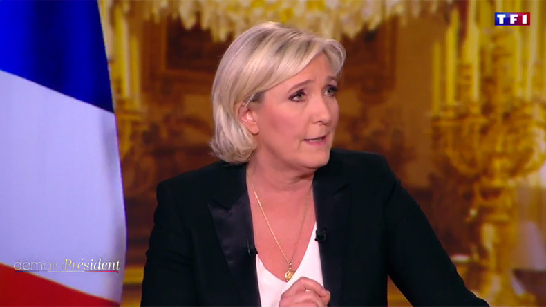 'I want to lead France, not Europe': Le Pen demands removal of EU flag for TV interview