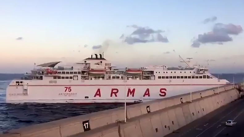 Dramatic moment Canary Islands ferry smashes into pier caught on camera (VIDEO)