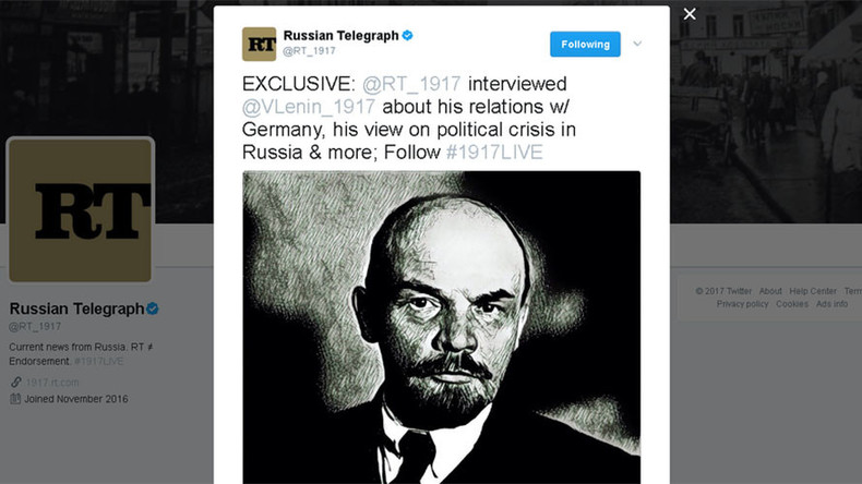 #1917LIVE: Lenin talks socialist revolution in 'real-time Q&A' on Twitter