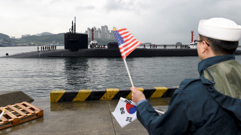 US nuclear sub docks in S. Korea amid reports of massive artillery drills by North