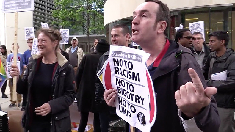 Anti-racism protesters storm UKIP election campaign launch (VIDEO)