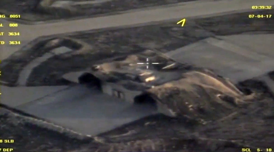DRONE VIDEO of Syria missile strike aftermath released by Russian MoD