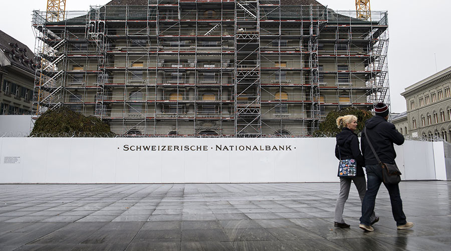 86yo woman arrested for spraying anti-war graffiti outside Swiss National Bank (VIDEO)