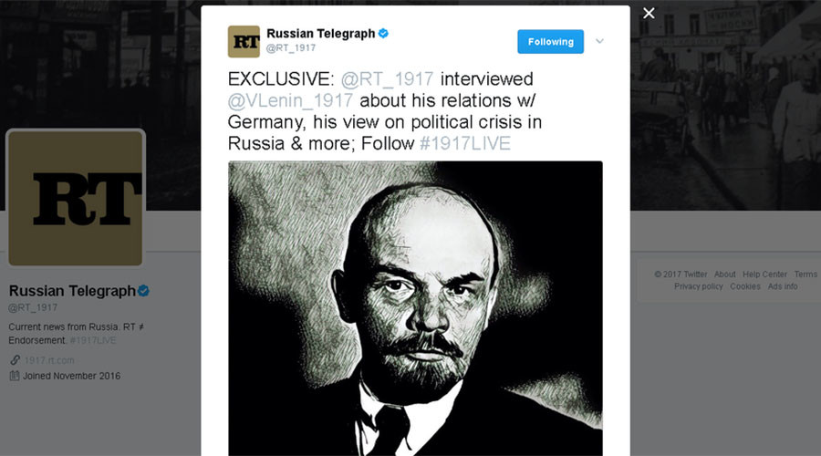 #1917LIVE: Lenin talks socialist revolution in 'real-time Q&A' on Twitter