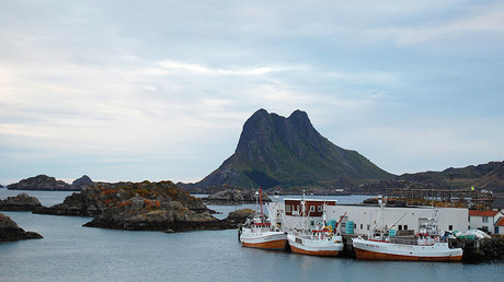 Whale-hunting boats are pictured in Stiene, in northern Norway © Pierre-Henry Deshayes