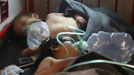 Syrian children receive treatment following a suspected gas attack in Khan Sheikhun, Idlib province. April 4, 2017. © Mohamed Al-Bakour