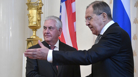 Tillerson & Lavrov meet for talks in Moscow after 'chemical attack' & Tomahawk strike in Syria