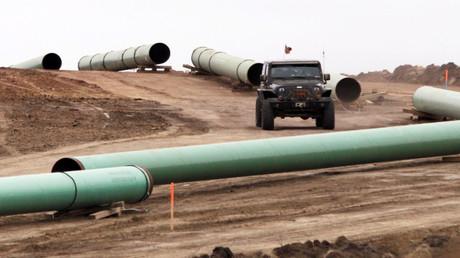 FILE PHOTO: A  series of pipes at a Dakota Access Construction © Josh Morgan