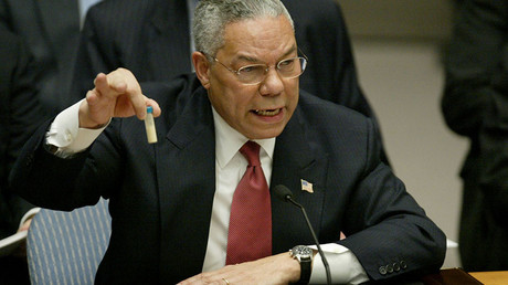 Colin Powell, UN Security Council, in New York February 5, 2003. © Ray Stubblebine