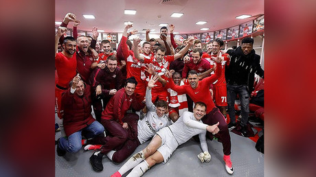Russian Premier League leaders Spartak Moscow celebrate 95th anniversary